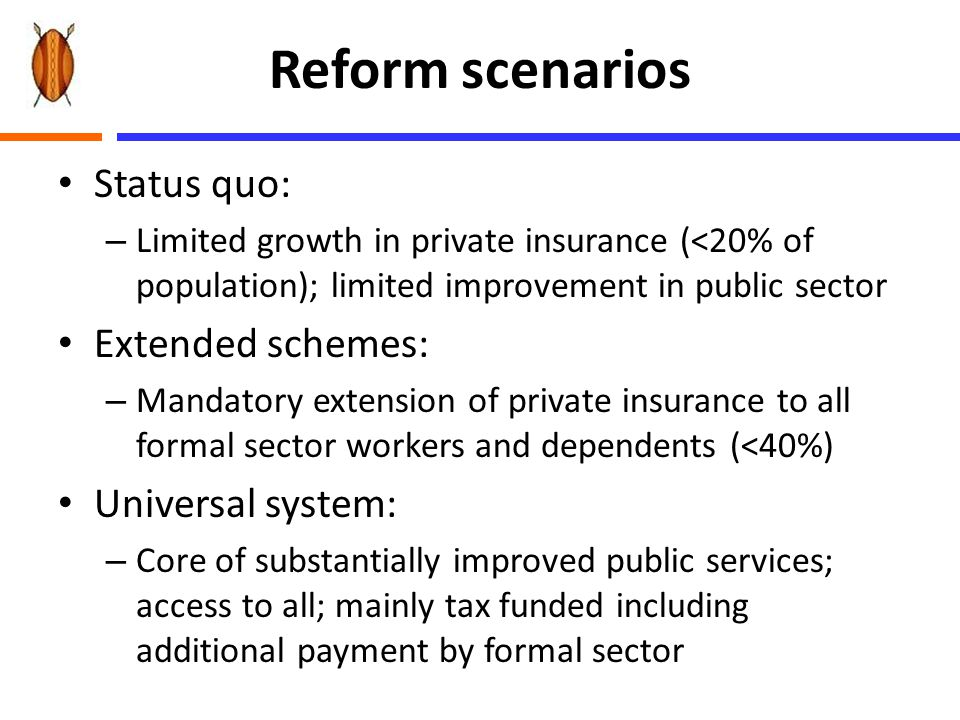 Reform scenarios Status quo: – Limited growth in private insurance (<20% of population); limited improvement in public sector Extended schemes: – Mand