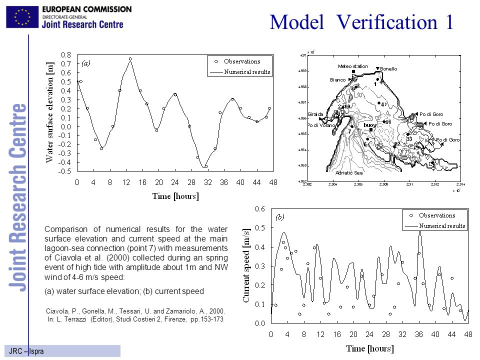 7 JRC – Ispra Model Verification 2 Comparison of numerical results for the surface temperature and salinity at the buoy station with hourly frequency observations (Bencivelli, private communication) collected during 1992 year: (a) temperature; (b) salinity