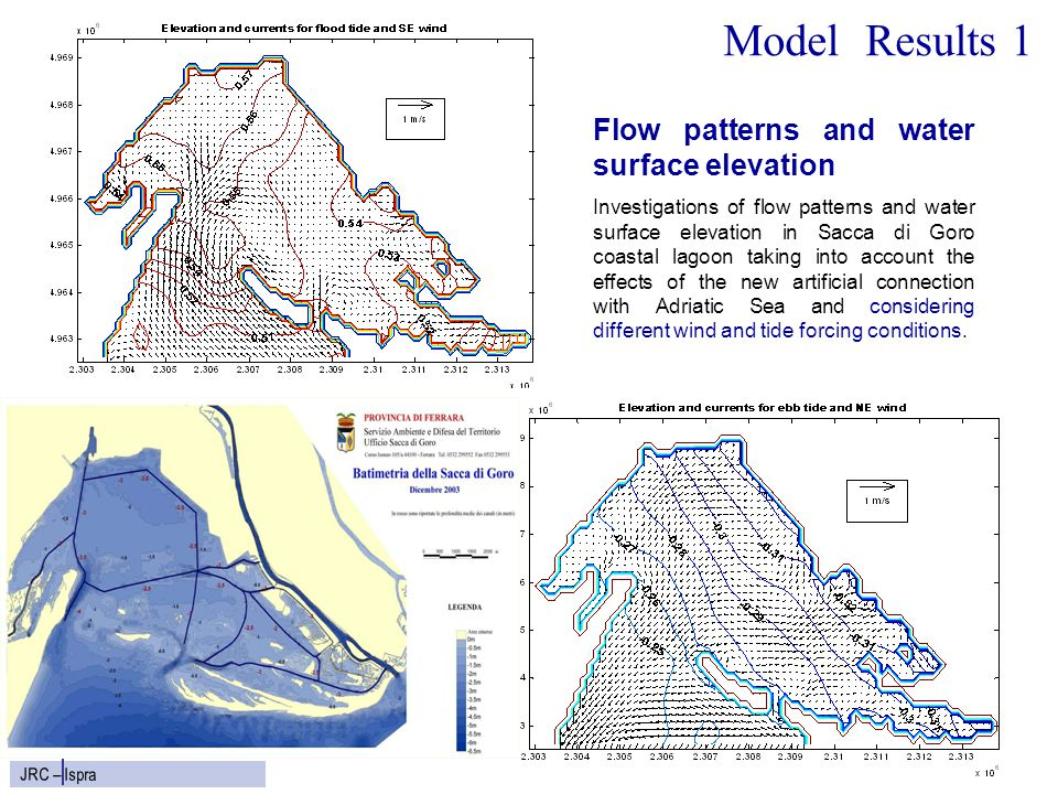 8 JRC – Ispra Model Results 1 Flow patterns and water surface elevation Investigations of flow patterns and water surface elevation in Sacca di Goro c