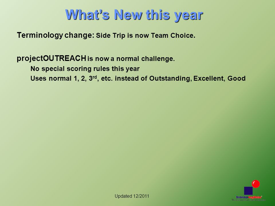 Updated 12/2011 What's New this year Terminology change: Side Trip is now Team Choice. projectOUTREACH is now a normal challenge. No special scoring r