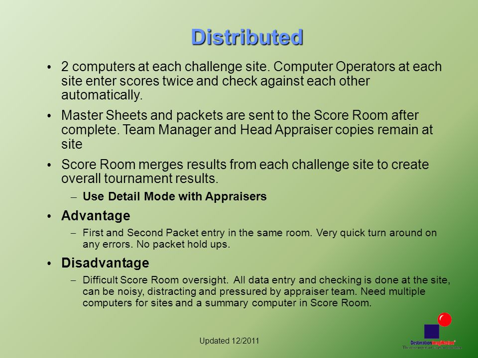 Updated 12/2011 Distributed 2 computers at each challenge site. Computer Operators at each site enter scores twice and check against each other automa