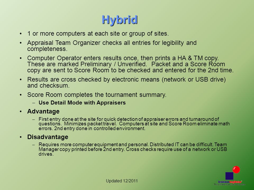 Updated 12/2011 Hybrid 1 or more computers at each site or group of sites.