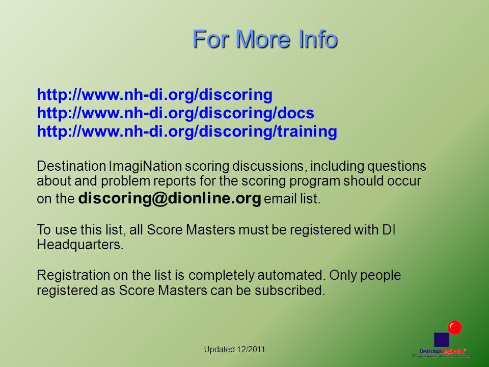 Updated 12/2011 For More Info http://www.nh-di.org/discoring http://www.nh-di.org/discoring/docs http://www.nh-di.org/discoring/training Destination I