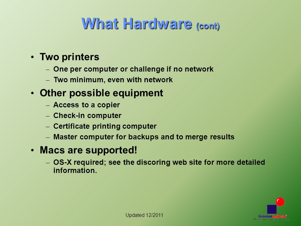 Updated 12/2011 What Hardware (cont) Two printers – One per computer or challenge if no network – Two minimum, even with network Other possible equipment – Access to a copier – Check-in computer – Certificate printing computer – Master computer for backups and to merge results Macs are supported.