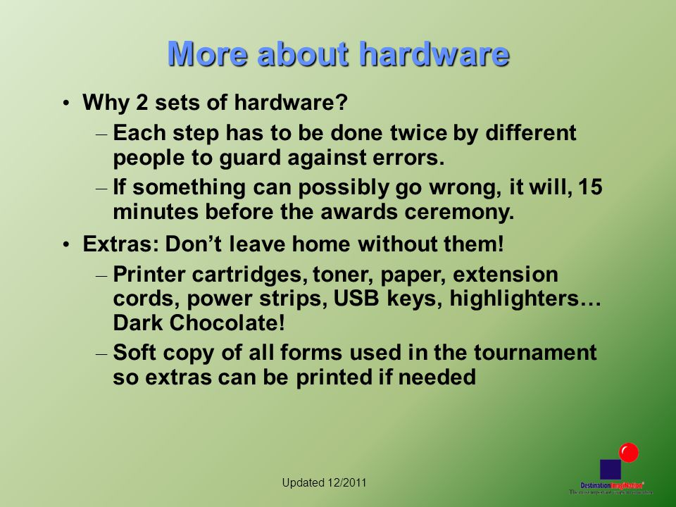 Updated 12/2011 More about hardware Why 2 sets of hardware.