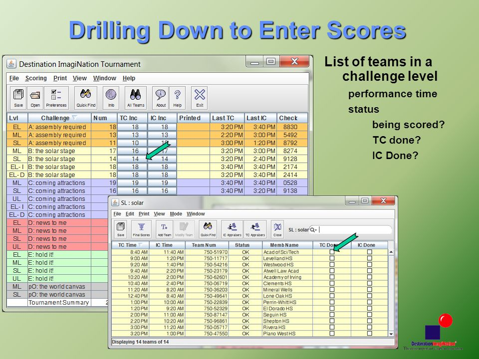 Updated 12/2011 Drilling Down to Enter Scores List of teams in a challenge level performance time status being scored.