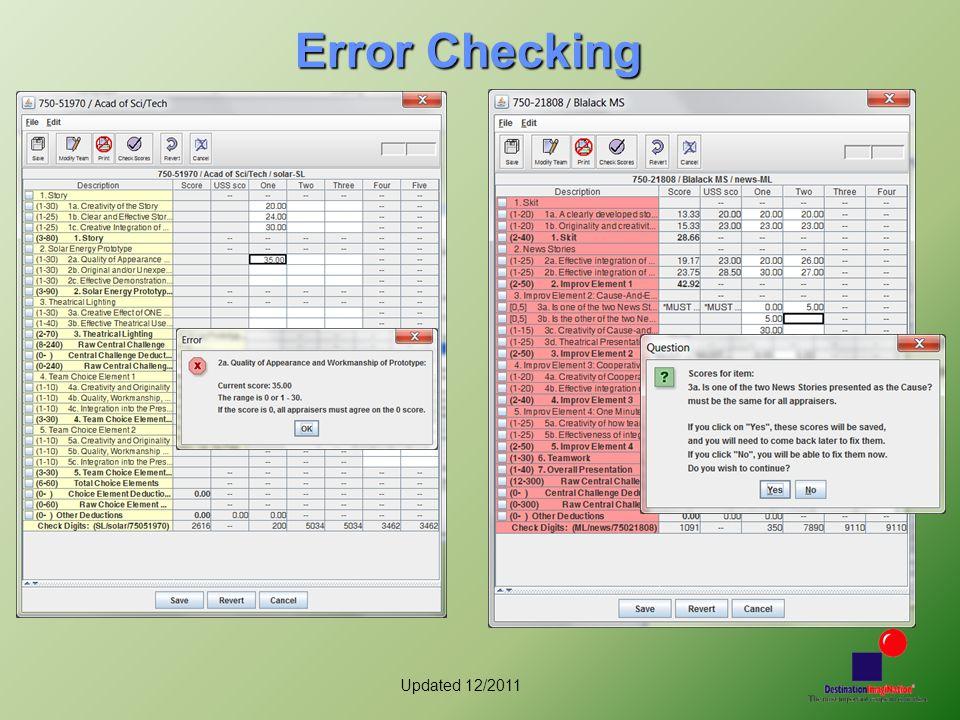 Updated 12/2011 Error Checking