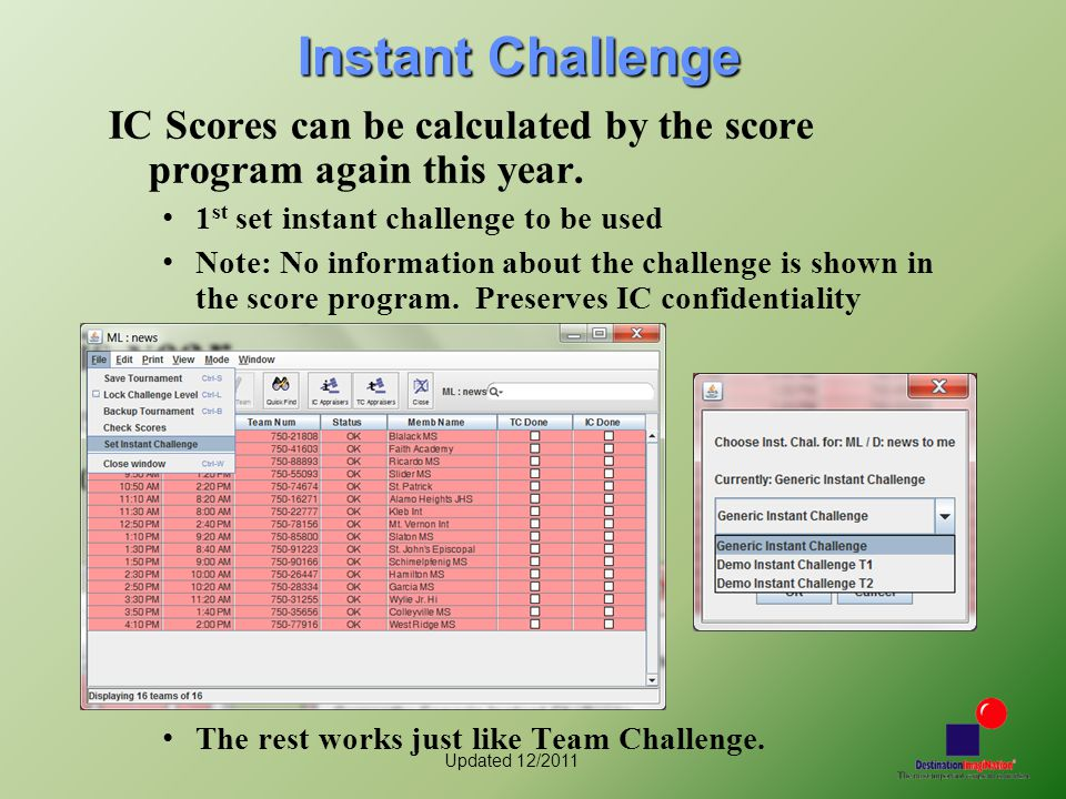 Updated 12/2011 Instant Challenge IC Scores can be calculated by the score program again this year.