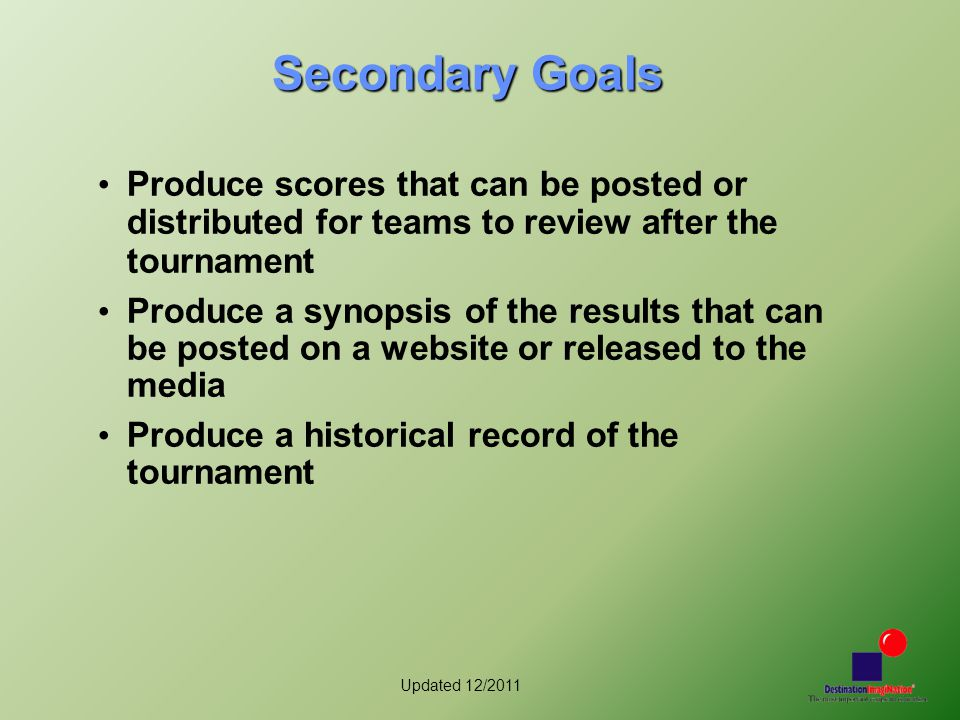 Updated 12/2011 Secondary Goals Produce scores that can be posted or distributed for teams to review after the tournament Produce a synopsis of the results that can be posted on a website or released to the media Produce a historical record of the tournament