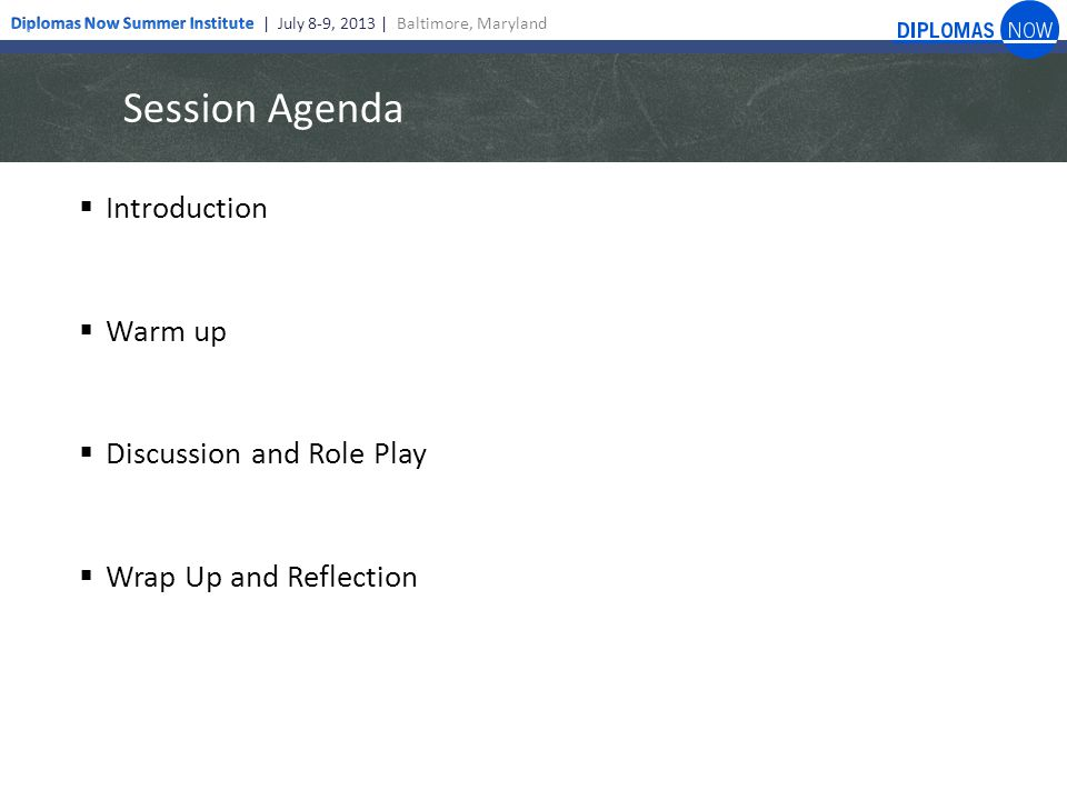 Session Agenda  Introduction  Warm up  Discussion and Role Play  Wrap Up and Reflection