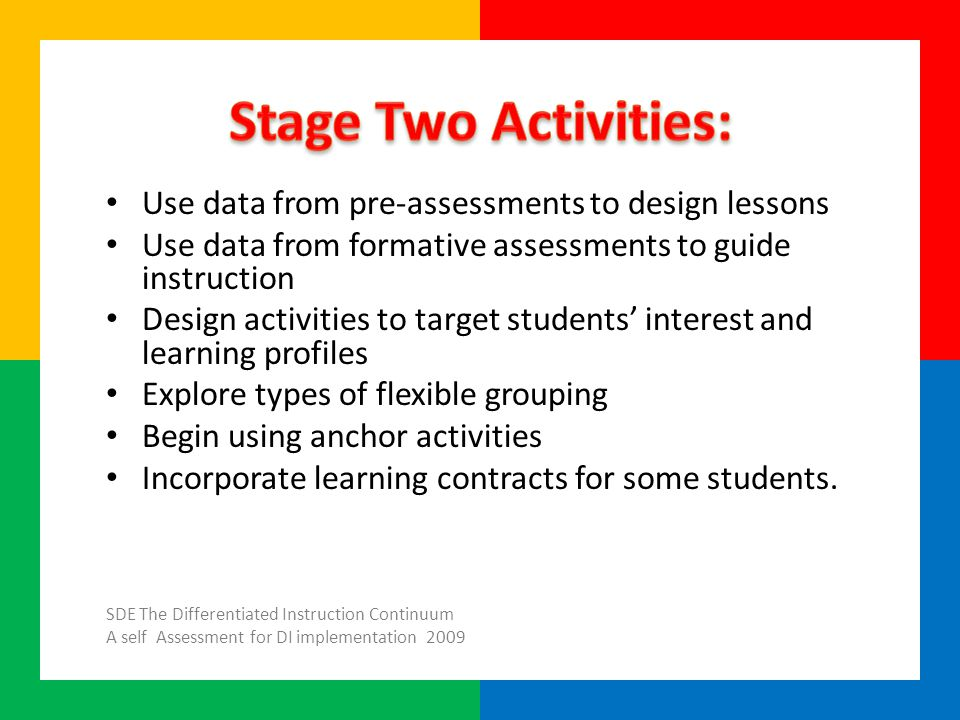 Use data from pre-assessments to design lessons Use data from formative assessments to guide instruction Design activities to target students' interest and learning profiles Explore types of flexible grouping Begin using anchor activities Incorporate learning contracts for some students.