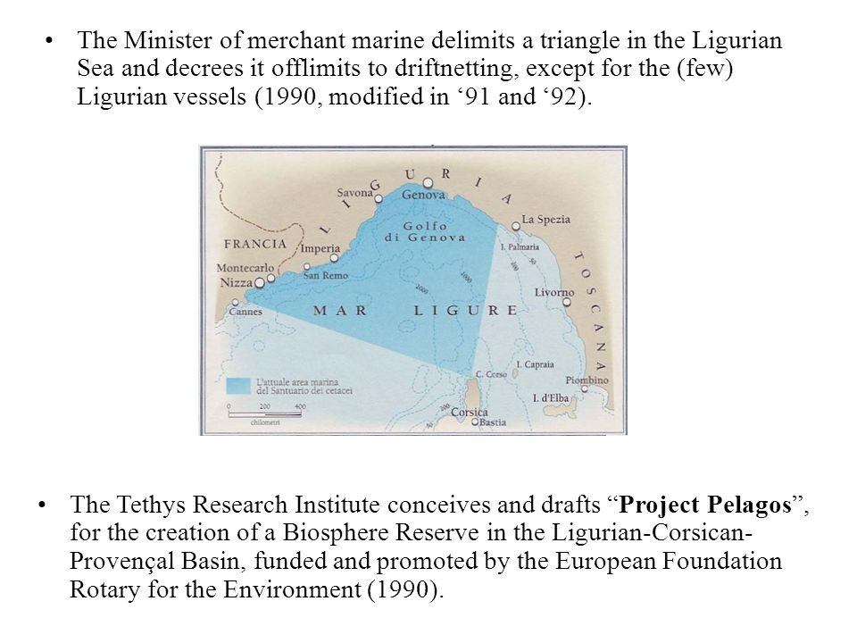 The Minister of merchant marine delimits a triangle in the Ligurian Sea and decrees it offlimits to driftnetting, except for the (few) Ligurian vessels (1990, modified in '91 and '92).