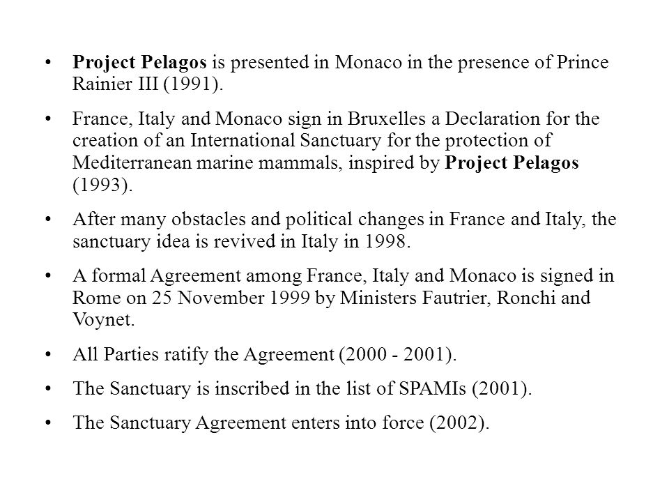Project Pelagos is presented in Monaco in the presence of Prince Rainier III (1991).