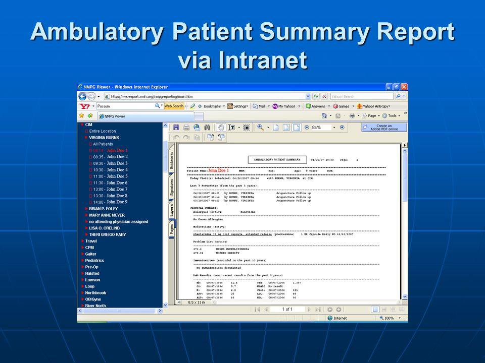 Ambulatory Patient Summary Report via Intranet