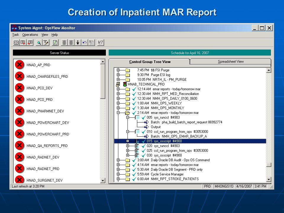 Creation of Inpatient MAR Report