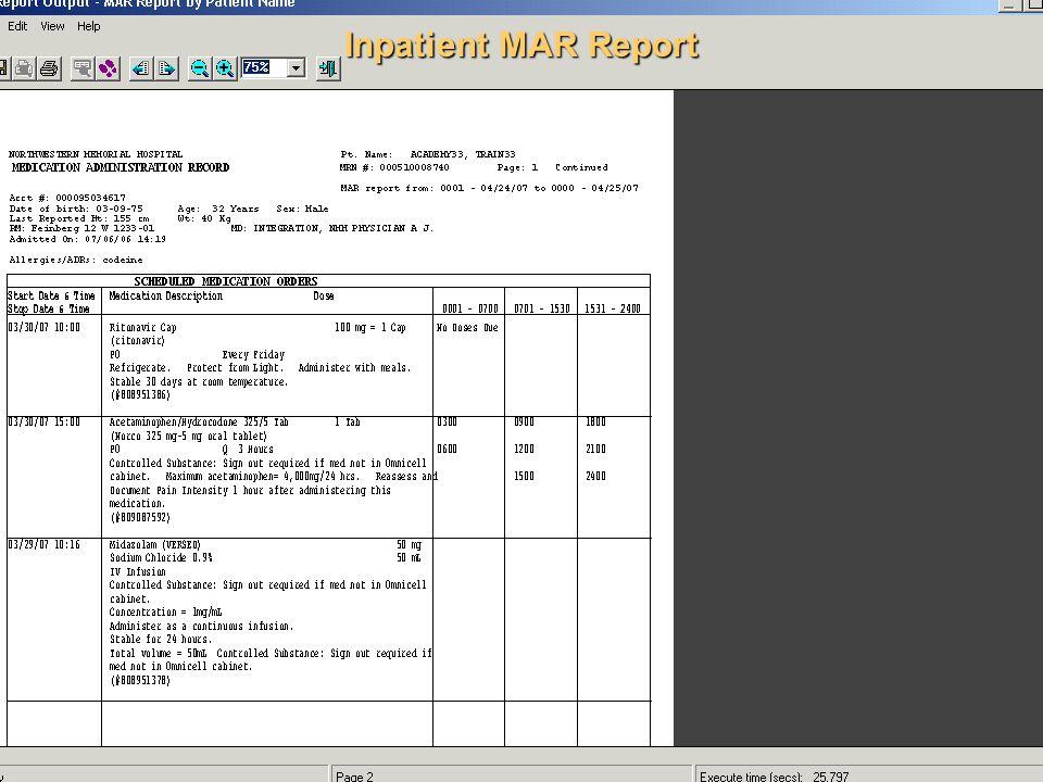Inpatient MAR Report
