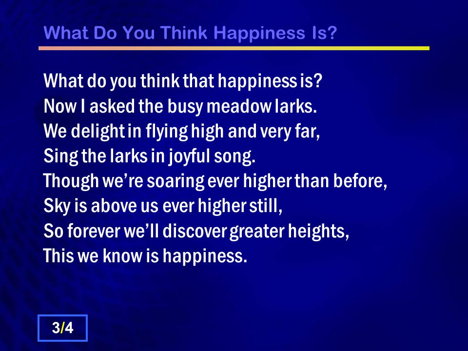 What Do You Think Happiness Is. What do you think that happiness is.