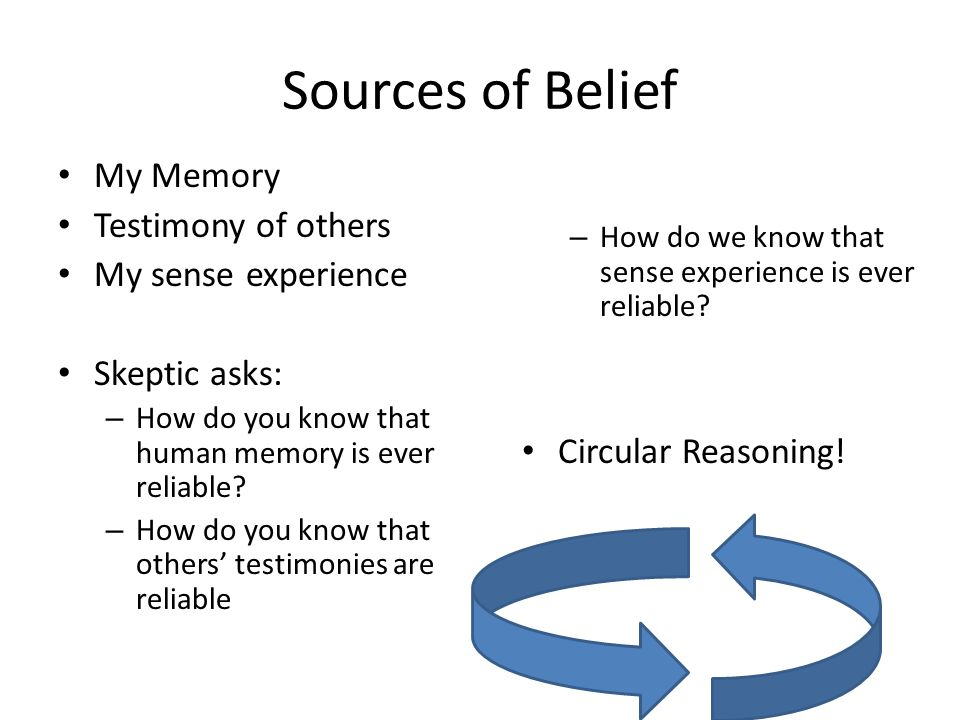 Sources of Belief – How do we know that sense experience is ever reliable.