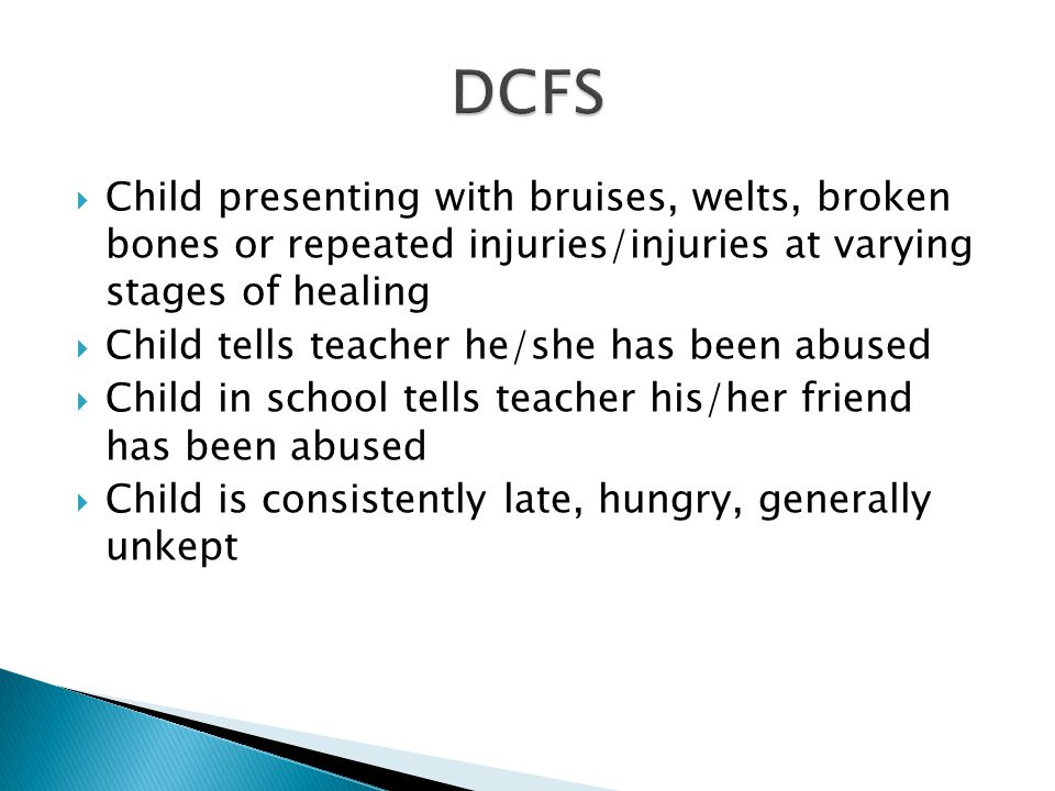 Regional DirectorOPCY  Peer on peer / bullying  Hazing  DCFS takes report  - lack of supervision  - teacher allegation of abuse  Sexual abuse by member of the clergy, an employee or volunteer