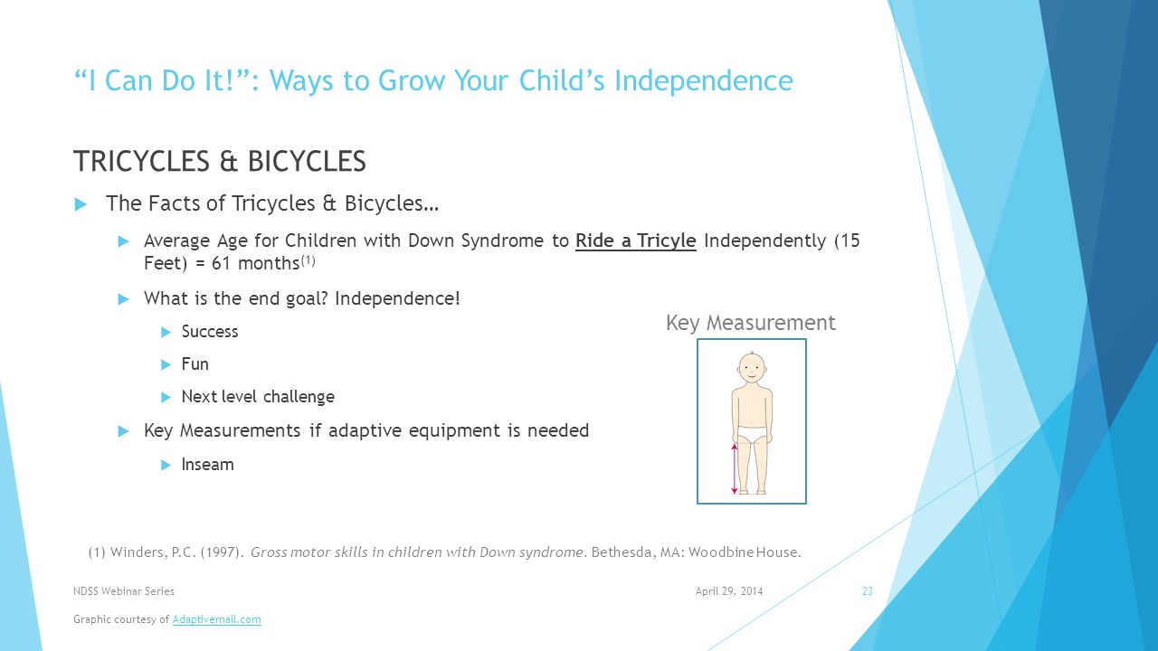 I Can Do It! : Ways to Grow Your Child's Independence TRICYCLES & BICYCLES  The Facts of Tricycles & Bicycles…  Average Age for Children with Down Syndrome to Ride a Tricyle Independently (15 Feet) = 61 months (1)  What is the end goal.