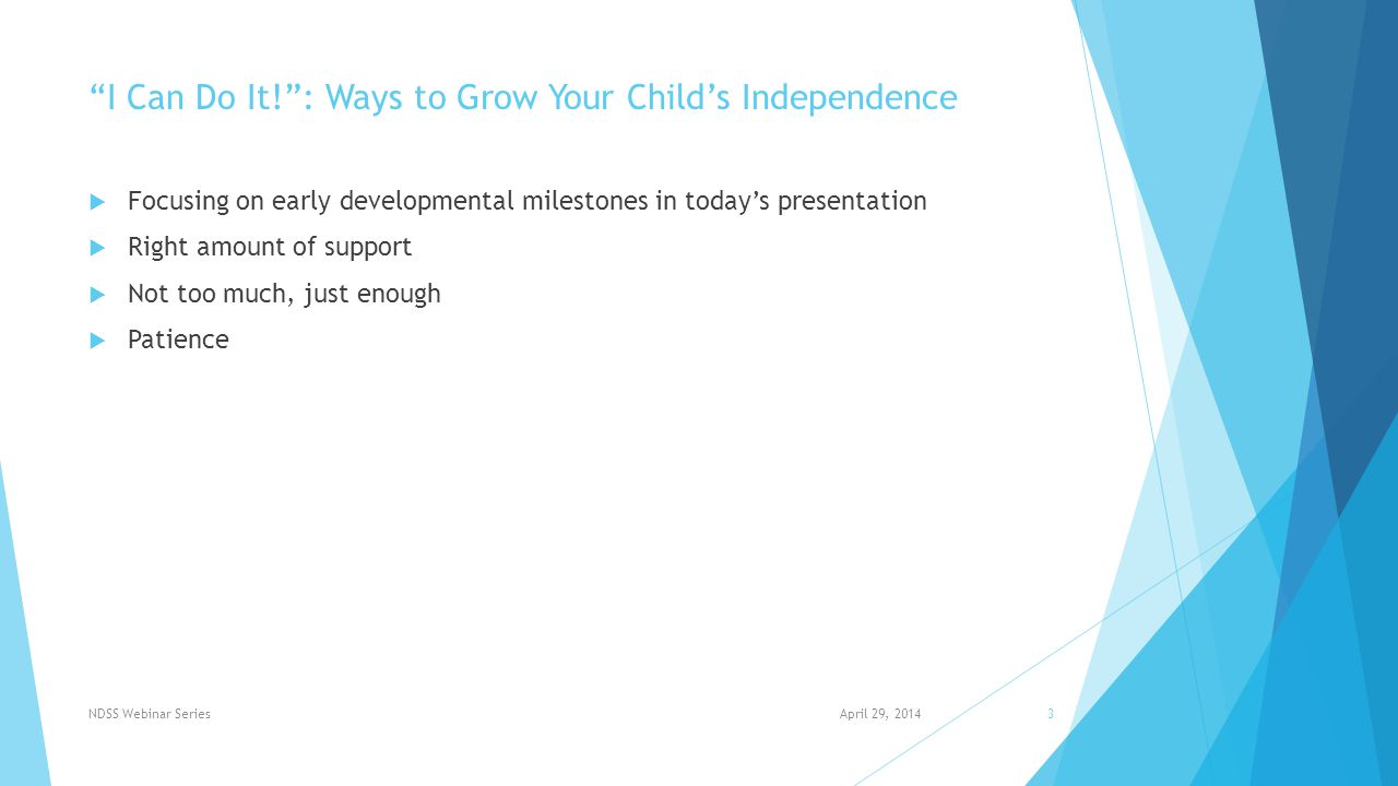 I Can Do It! : Ways to Grow Your Child's Independence  ROLLING  SEATING  CRAWLING & CREEPING  STANDING  WALKING  TRICYCLES & BICYCLES  BATHING  FINE MOTOR SKILLS April 29, 2014NDSS Webinar Series4
