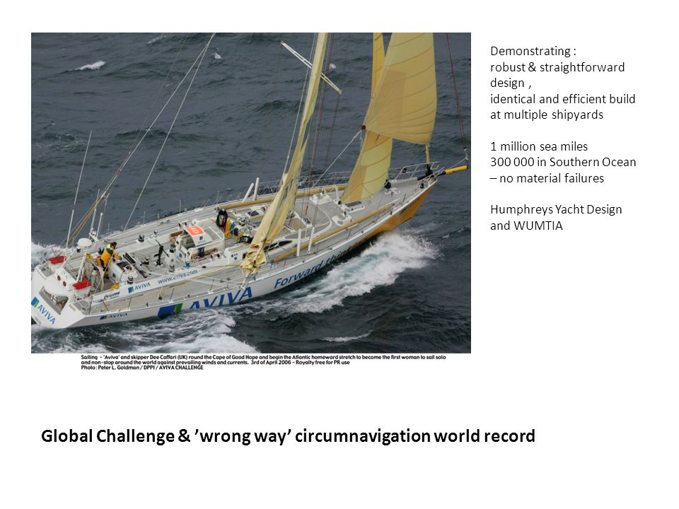 Global Challenge & 'wrong way' circumnavigation world record Demonstrating : robust & straightforward design, identical and efficient build at multiple shipyards 1 million sea miles 300 000 in Southern Ocean – no material failures Humphreys Yacht Design and WUMTIA