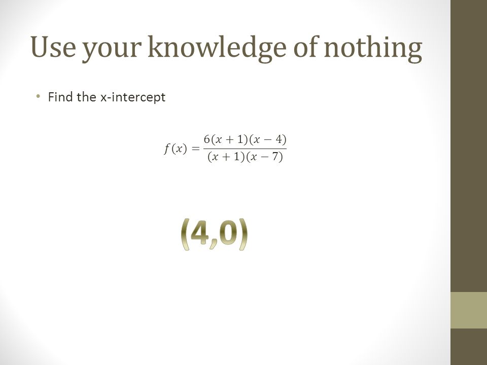 Use your knowledge of nothing Find the x-intercept