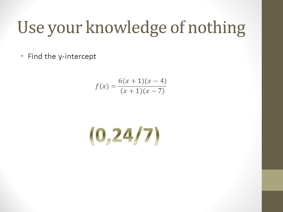 Use your knowledge of nothing Find the y-intercept