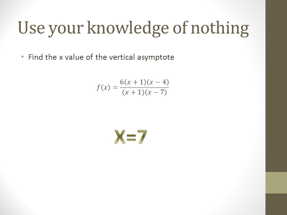 Use your knowledge of nothing Find the x value of the vertical asymptote