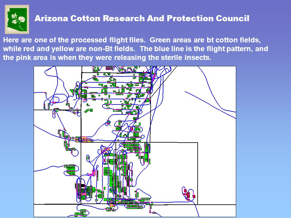 Arizona Cotton Research And Protection Council Here are one of the processed flight files. Green areas are bt cotton fields, while red and yellow are