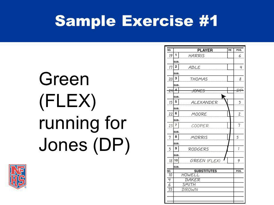 Green (FLEX) running for Jones (DP) Sample Exercise #1