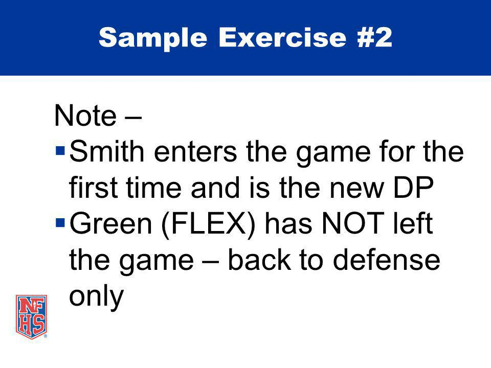 Note –  Smith enters the game for the first time and is the new DP  Green (FLEX) has NOT left the game – back to defense only Sample Exercise #2