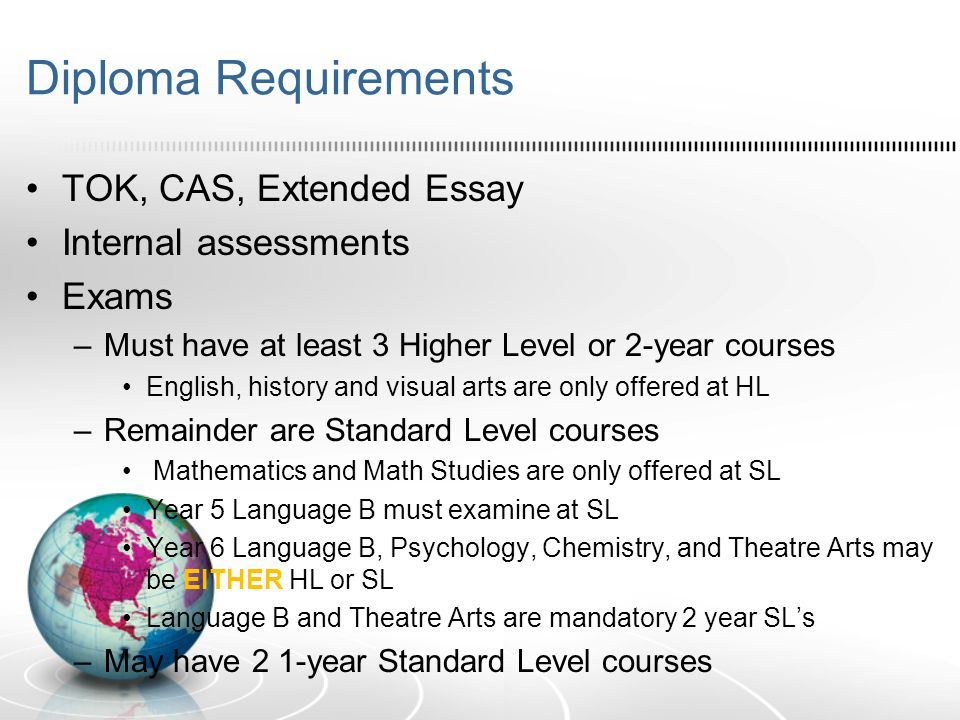 Diploma Requirements TOK, CAS, Extended Essay Internal assessments Exams –Must have at least 3 Higher Level or 2-year courses English, history and vis
