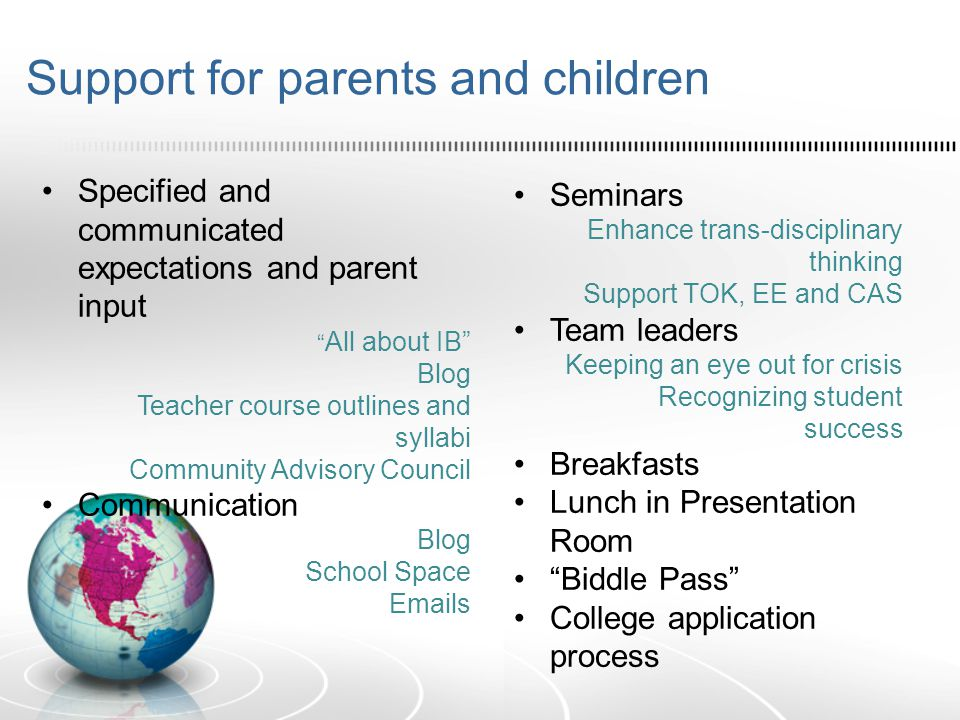 "Support for parents and children Specified and communicated expectations and parent input "" All about IB"" Blog Teacher course outlines and syllabi Com"