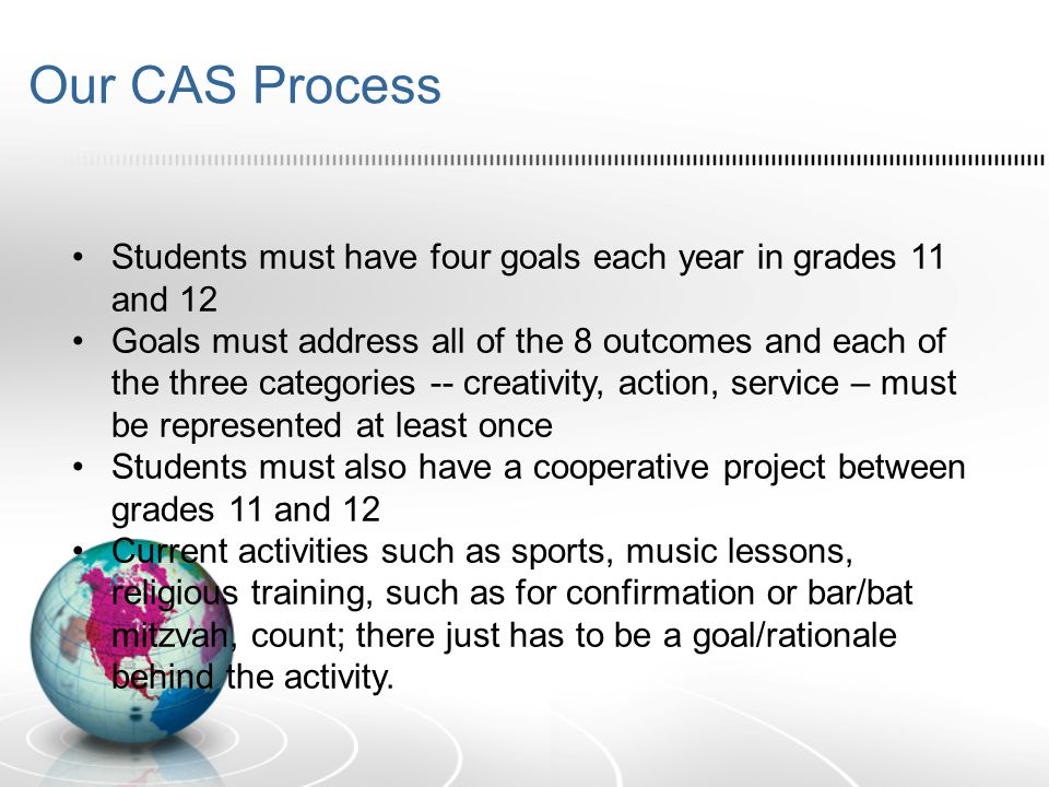 Our CAS Process Students must have four goals each year in grades 11 and 12 Goals must address all of the 8 outcomes and each of the three categories