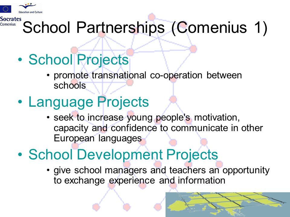 School Partnerships (Comenius 1) School Projects promote transnational co-operation between schools Language Projects seek to increase young people's