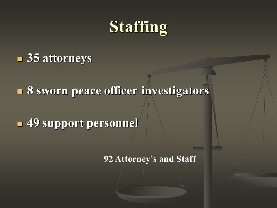 Staffing 35 attorneys 35 attorneys 8 sworn peace officer investigators 8 sworn peace officer investigators 49 support personnel 49 support personnel 92 Attorney's and Staff