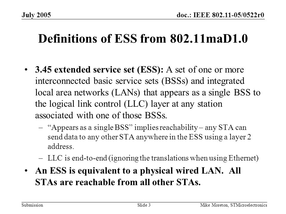 doc.: IEEE 802.11-05/0522r0 Submission July 2005 Mike Moreton, STMicroelectronicsSlide 3 Definitions of ESS from 802.11maD1.0 3.45 extended service se