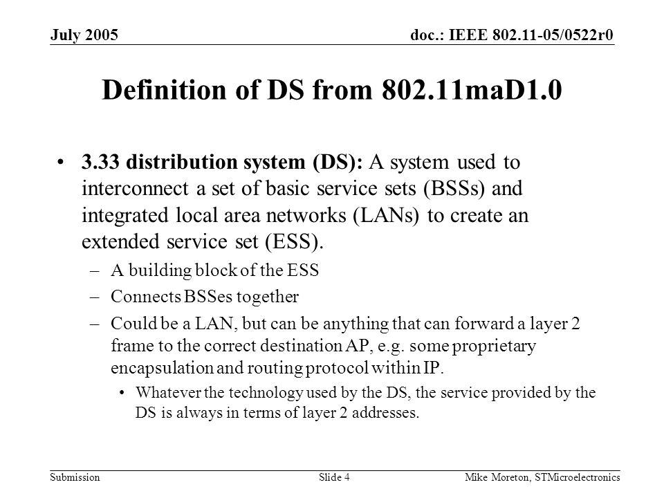 doc.: IEEE 802.11-05/0522r0 Submission July 2005 Mike Moreton, STMicroelectronicsSlide 5 Definition of subnet Can't find an official definition.