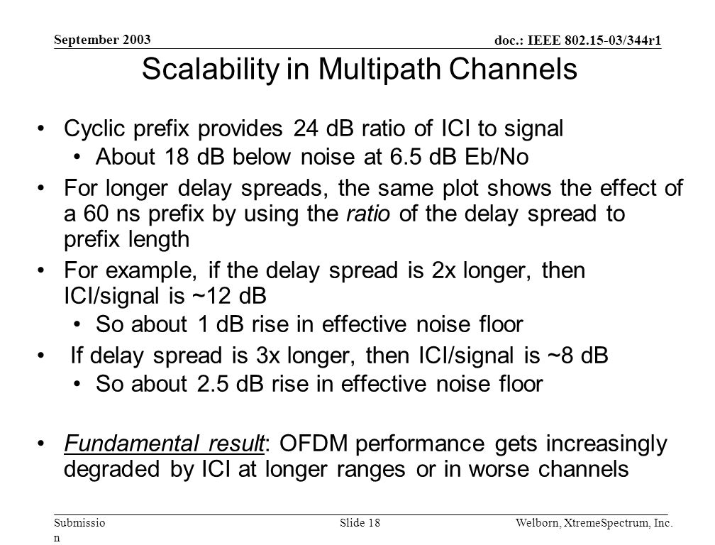 doc.: IEEE 802.15-03/344r1 Submissio n September 2003 Welborn, XtremeSpectrum, Inc.Slide 18 Scalability in Multipath Channels Cyclic prefix provides 24 dB ratio of ICI to signal About 18 dB below noise at 6.5 dB Eb/No For longer delay spreads, the same plot shows the effect of a 60 ns prefix by using the ratio of the delay spread to prefix length For example, if the delay spread is 2x longer, then ICI/signal is ~12 dB So about 1 dB rise in effective noise floor If delay spread is 3x longer, then ICI/signal is ~8 dB So about 2.5 dB rise in effective noise floor Fundamental result: OFDM performance gets increasingly degraded by ICI at longer ranges or in worse channels