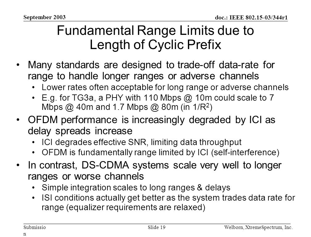 doc.: IEEE 802.15-03/344r1 Submissio n September 2003 Welborn, XtremeSpectrum, Inc.Slide 19 Fundamental Range Limits due to Length of Cyclic Prefix Many standards are designed to trade-off data-rate for range to handle longer ranges or adverse channels Lower rates often acceptable for long range or adverse channels E.g.