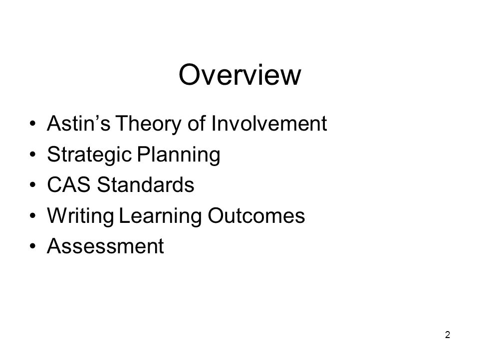 Overview Astin's Theory of Involvement Strategic Planning CAS Standards Writing Learning Outcomes Assessment 2