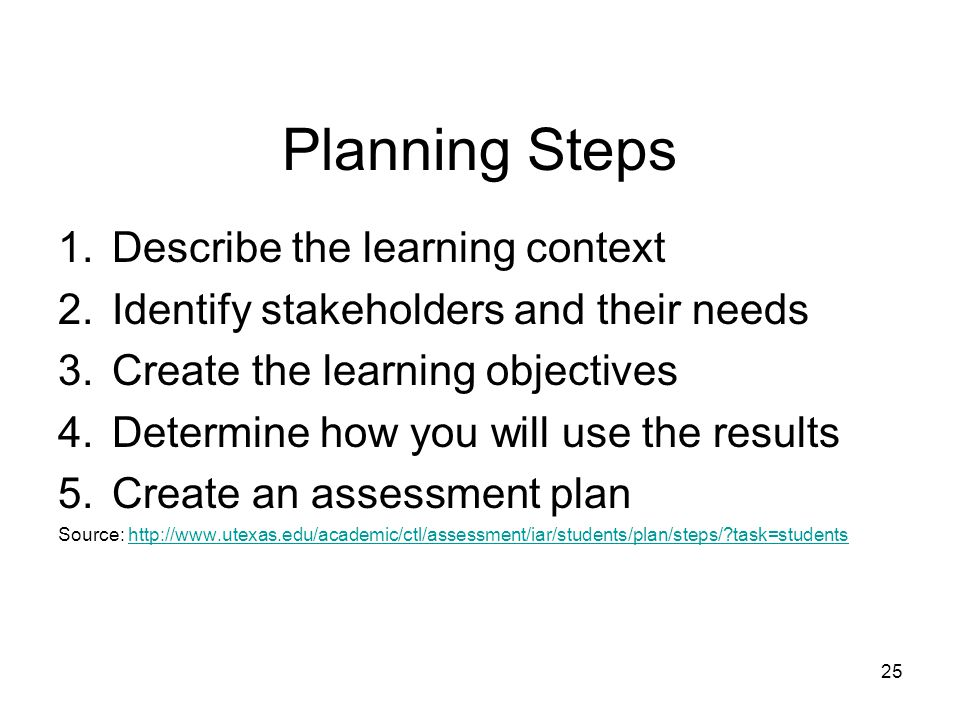 Planning Steps 1.Describe the learning context 2.Identify stakeholders and their needs 3.Create the learning objectives 4.Determine how you will use the results 5.Create an assessment plan Source: http://www.utexas.edu/academic/ctl/assessment/iar/students/plan/steps/?task=studentshttp://www.utexas.edu/academic/ctl/assessment/iar/students/plan/steps/?task=students 25