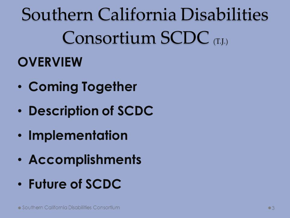 Southern California Disabilities Consortium SCDC (T.J.) OVERVIEW Coming Together Description of SCDC Implementation Accomplishments Future of SCDC Sou