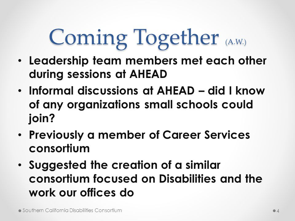 Coming Together (A.W.) Leadership team members met each other during sessions at AHEAD Informal discussions at AHEAD – did I know of any organizations