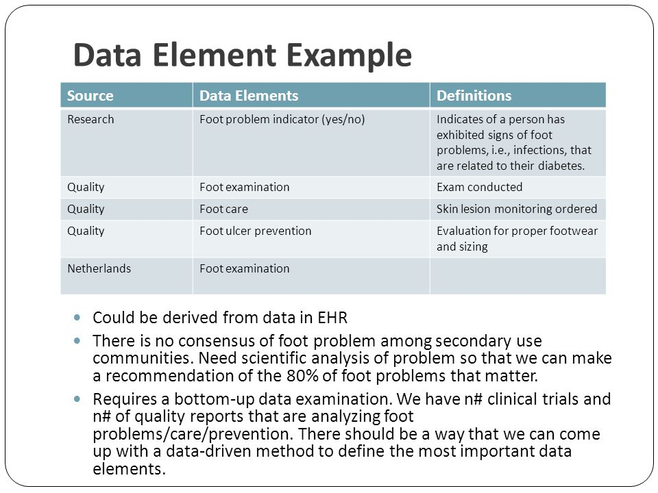 Data Element Example Could be derived from data in EHR There is no consensus of foot problem among secondary use communities. Need scientific analysis