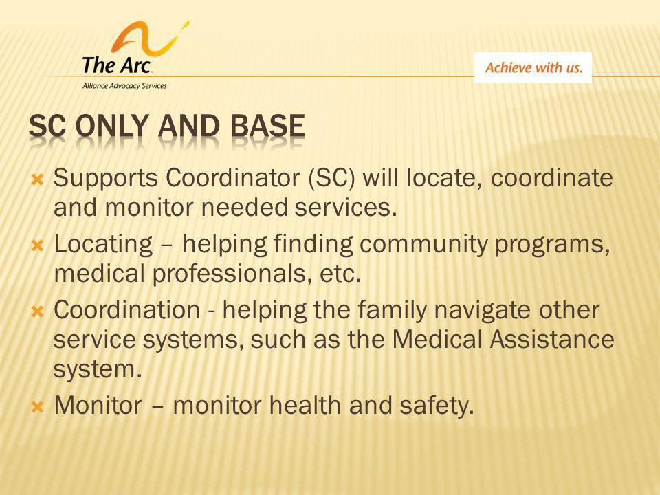  Supports Coordinator (SC) will locate, coordinate and monitor needed services.