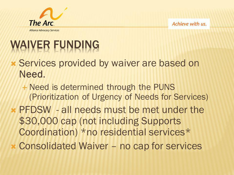  Services provided by waiver are based on Need.