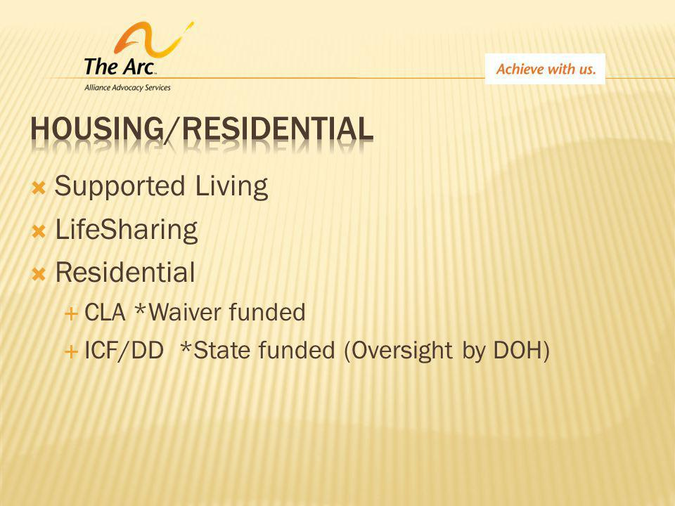  Supported Living  LifeSharing  Residential  CLA *Waiver funded  ICF/DD *State funded (Oversight by DOH)