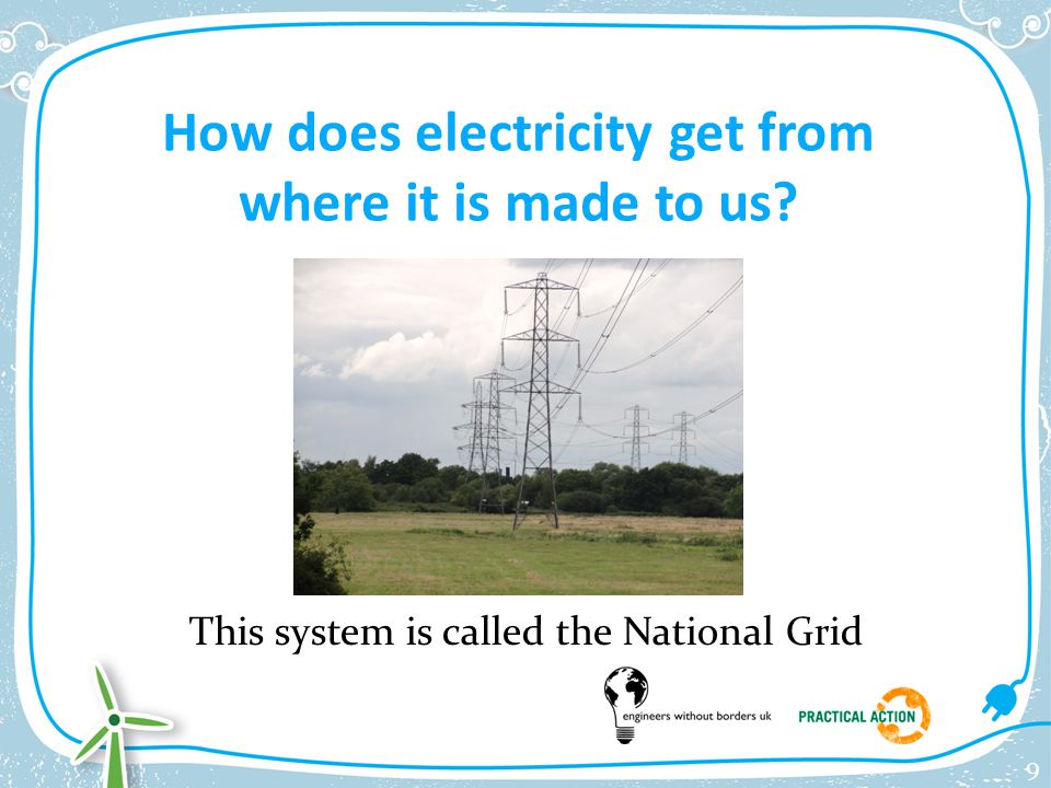 How does electricity get from where it is made to us? This system is called the National Grid 9